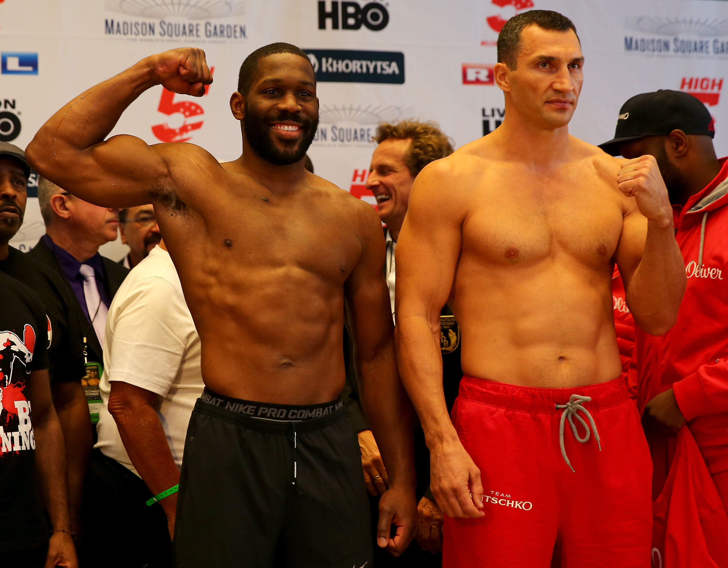 NEW YORK, NY - APRIL 24:  Bryant Jennings and Vladimir Klitschko face off after they both made weight during the weight in on April 24, 2015 at Madison Square Garden  in New York City.  (Photo by Elsa/Getty Images)