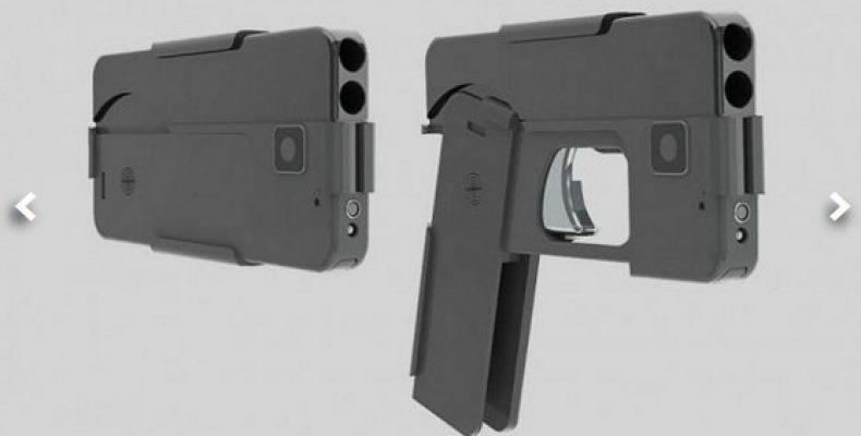 Пистолет маскируется под смартфон Двуствольный 9-миллиметровый пистолет похож